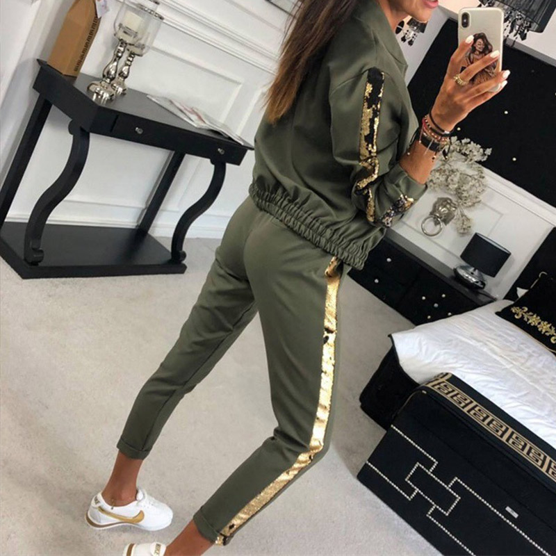 Women's Sports Tracksuits 2 Piece Set Sequined Patckwork Long Sleeve Zippers Tops Elastic Waist Pants Suit 2020 Spring Tracksuit