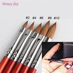 1PC Kolinsky Sable Acrylic Nail Art Brush No. 2/4/6/8/10/12/14/16/18 UV Gel Carving Pen Brush Liquid Powder DIY Nail Drawing(China)