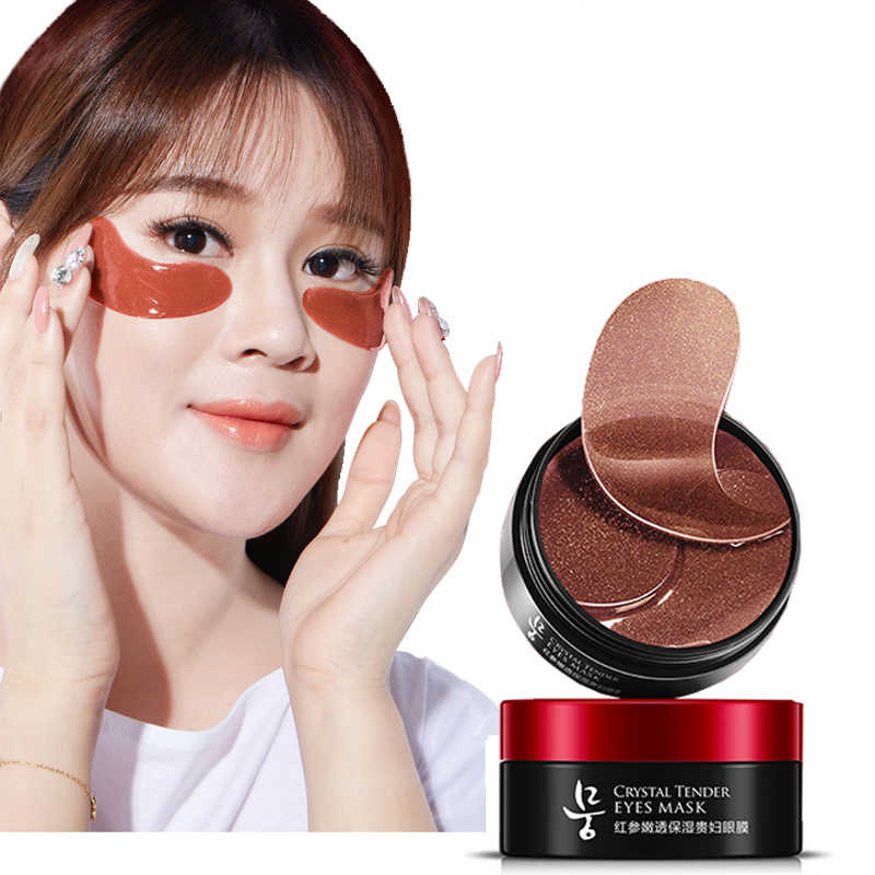 Коллагеновый пластырь для глаз для женьшеня 60 шт. увлажняющий гидрогелевый Антивозрастной уход маска для глаз под Кореей гелевые Пластыри для удаления темных кругов Q