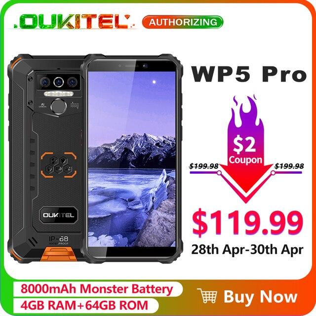 Oukitel wp5 pro ip68 à prova dip68 água smartphone 8000mah android 10 triplo rosto da câmera/impressão digital id 5.5 polegadas 4gb 64gb telefone móvel 1