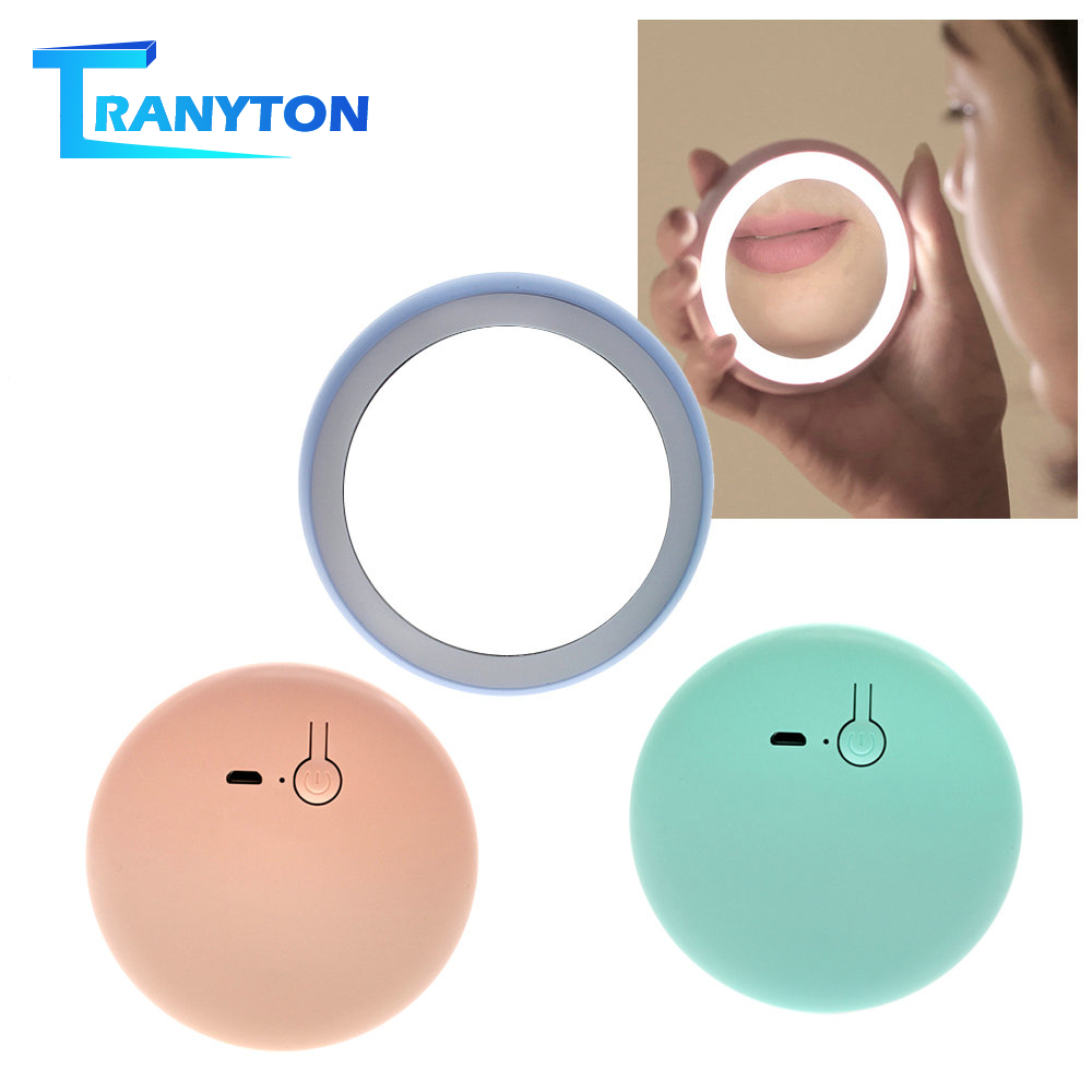 Portable Vanity Lights Mini LED Makeup Mirror With 12 LEDs Rechargeable Round HD Cosmetic Mirror For Women Beauty Makeup Tools
