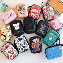 Cartoon Zipper Earphone Storage Bag Case For Headphone Earbuds Key Coin Hard Holder Earphone Protector USB Cable Organizer(China)