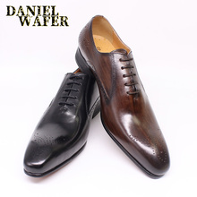 LUXURY BRAND MEN'S OXFORD BROGUES SHOES GENUINE LEATHER BLACK BROWN  POINTED TOE LACE UP WEDDING BUSINESS MEN DRESS FORMAL SHOES 2017 new brand spring autumn black brown genuine leather men s crocodile lace up pointed toe flat business casual wedding shoes