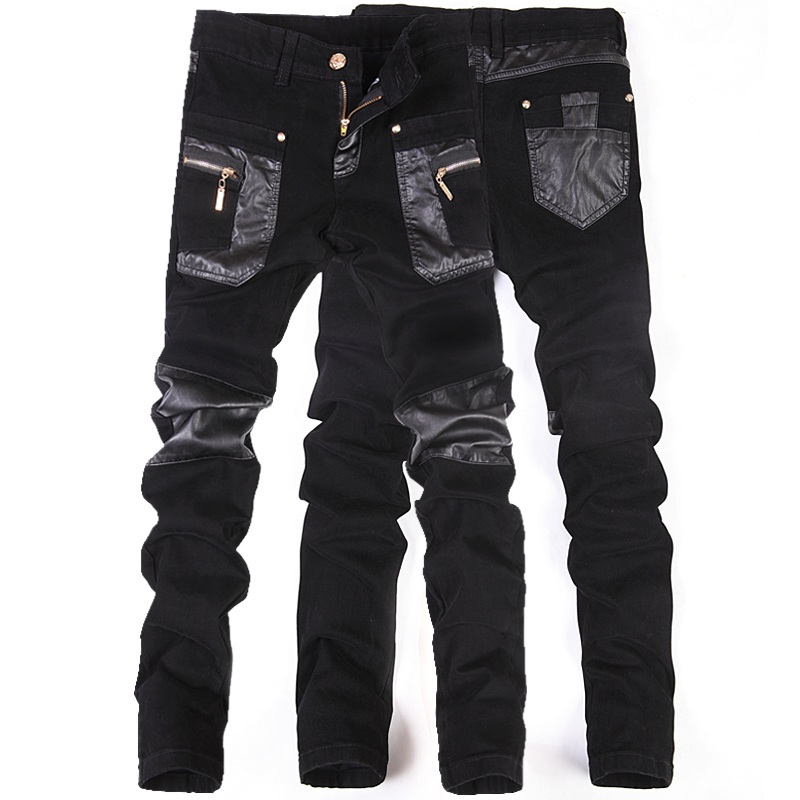 New Fashion Men Leather Pants Patchwork Casual Skinny Men's Motorcycle Jeans High Quality Men's Slim Trousers Jeans Size 28-36