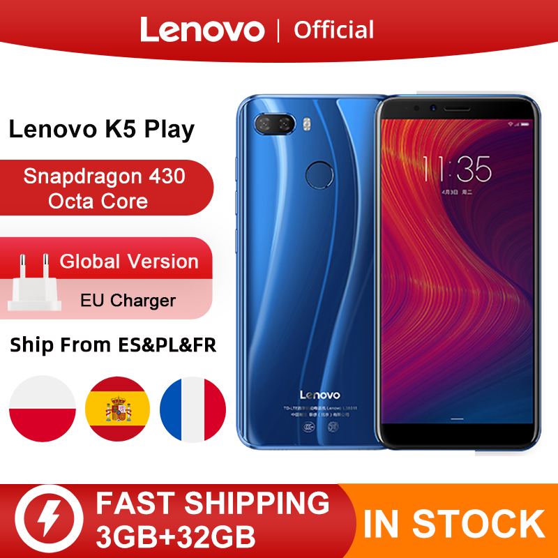 "Version mondiale Lenovo K5 Play 3GB 32GB Snapdragon 430 Octa Core Smartphone 1.4G 5.7 ""18:9 empreinte digitale   AliExpress"