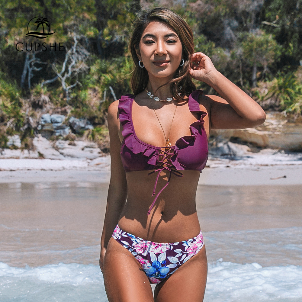 CUPSHE Purple Ruffles And Floral Print Bikini Sets Sexy Lace Up Swimsuit Two Pieces Swimwear Women 2020 Beach Bathing Suits