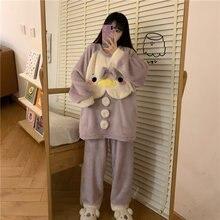 2020 пижамы Женская зимняя одежда на бархатной подкладке милые