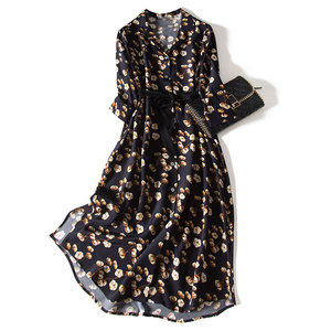 Дизайнерские женские платья 2020, высокое качество, принт, винтажное, ТРАПЕЦИЕВИДНОЕ, с поясом, до середины икры, рукав 3/4, шелковое Смешанное п...