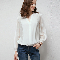 High Quality 100% Silk Blouse Women Shirt Solid Vintage Lace Design Ruffles O Neck Long Sleeves Graceful Style New Fashion