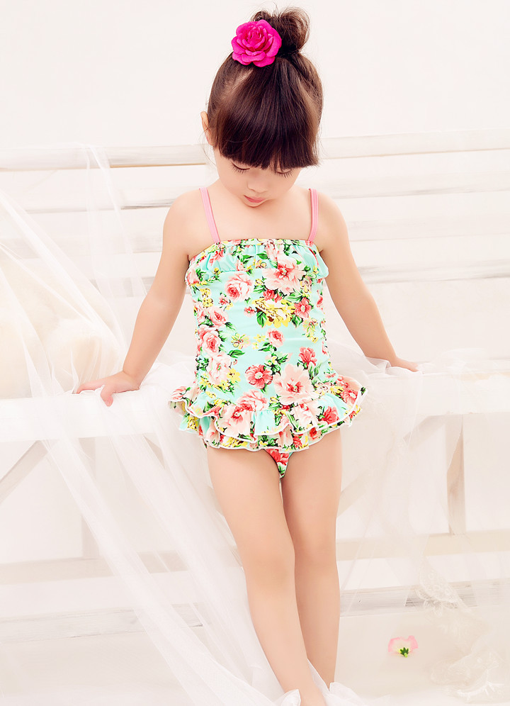 Special Offer KID'S Swimwear Small Children Baby Pink And Green Floral Skirt-Sweet Spa Resort One-piece Swimwear