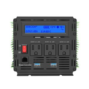 Image 2 - เครื่องแปลงกระแสไฟฟ้า EDECOA อินเวอร์เตอร์ DC 12 V AC 110 V 120 V 1000W 60Hz อินเวอร์เตอร์ PURE sine WAVE US ปลั๊กรีโมทคอนโทรลจอแสดงผลพอร์ต USB