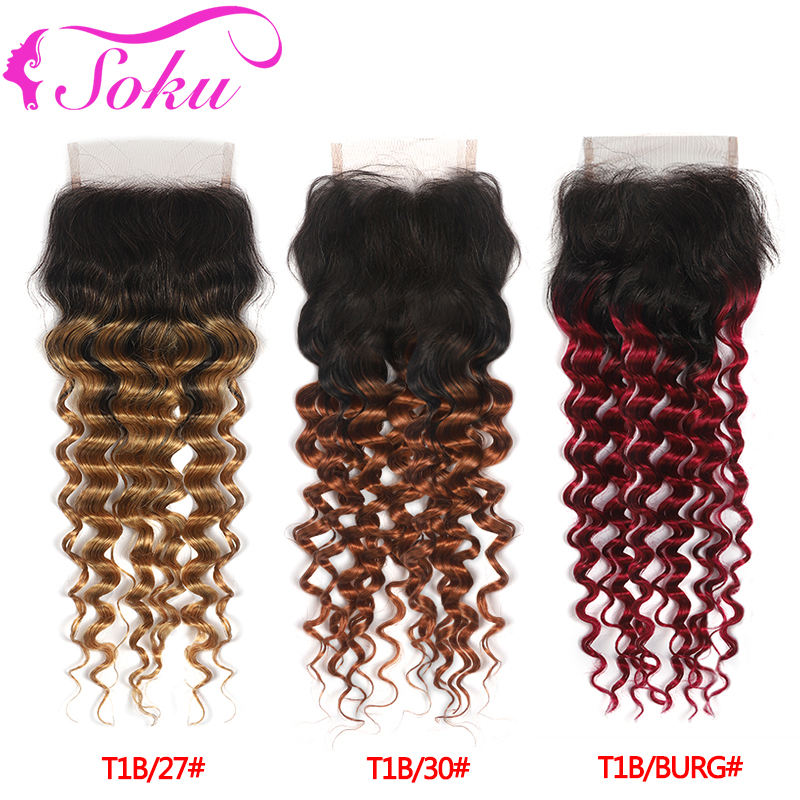 4x4 Lace Closure Free/Middle Part Swiss Lace Closure Brazilian Deep Wave Ombre Blonde Brown Red Human Hair Closure Non-Remy SOKU