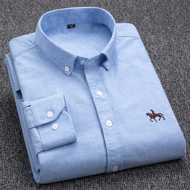 100% Cotton Oxford Shirt Men's Long Sleeve Embroidered Horse Casual Without Pocket Solid Yellow Dress Shirt Men Plus Size 5XL6XL 2