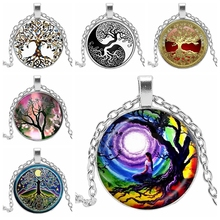 2019 New Trend Life Tree Necklace Art Photo Glass Convex Round Charm DIY Gift Jewelry