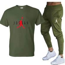 Venda quente verão camiseta calças definir casual marca aptidão jogger calças t camisa hip hop moda masculina tracksuits ropa de hombre