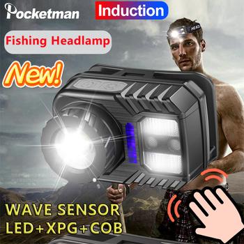 Wysoki prześwit czujnik ruchu ciała reflektor indukcyjny COB lampa czołowa LED wodoodporna lampa czołowa Zoomable lampa czołowa z wbudowanym akumulatorem tanie i dobre opinie POCKETMAN CN (pochodzenie) Żarówki led Wysoka średnim niskie K120 180 ° Fishing Camping Hiking Riding LITHIUM ION Micro usb