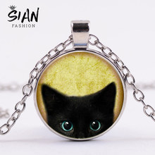 SIAN Black Cat and Raven Necklace for Pet Lover Retro Painting Glass Cabochon Silver Chain Necklace Women Collares Hallowen Gift(China)