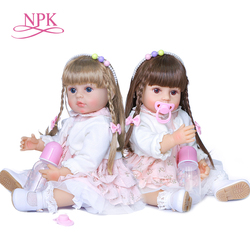 Npk 55cm soft all silicone body original authentic designed reborn baby girl two colors long hair handmade doll