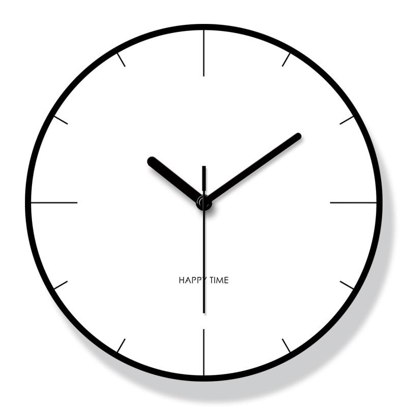 Modern Minimalist Nordic Clock Living Room Home Decoration Accessories Fashion Atmosphere Mute Quartz Wall Clocks 12 Inch