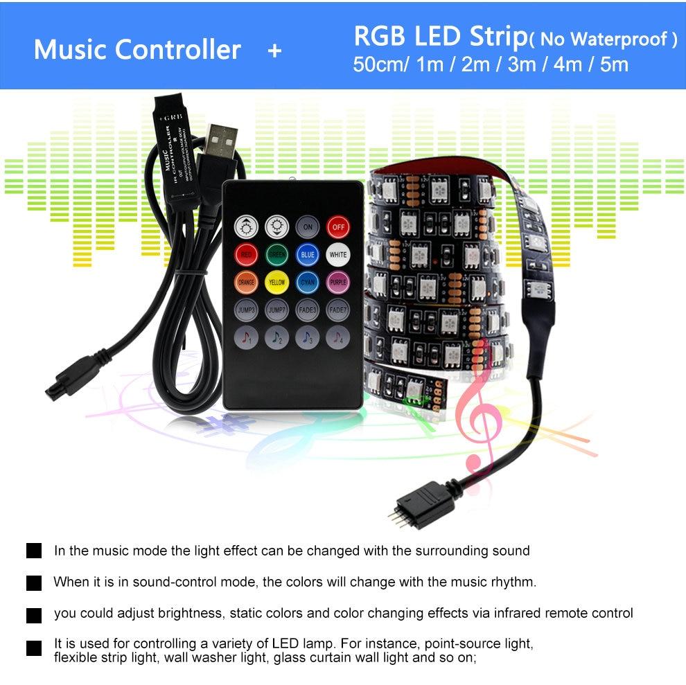Hfcfa67bde6374485b3d73a5f6178c0e4f USB LED Strip 5050 RGB Changeable LED TV Background Lighting 50CM 1M 2M 3M 4M 5M DIY Flexible LED Light.