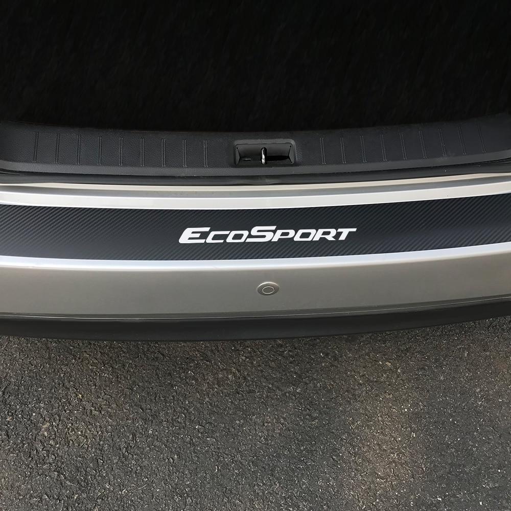 Carbon Fiber Protector Car Scuff Sill Pedals Cover Stickers For Ford Ecosport Auto Trunk Guard Plate Car Rear Bumper Accessories
