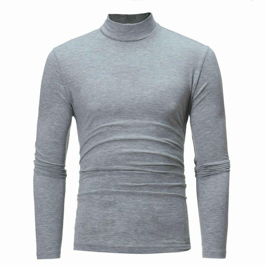 Neue Mode Männer Langarm Pullover High Neck Rollkragen Stretch Dünnen Grundlegenden T Shirt T Top Schwarz Weiß Grau Navy blau