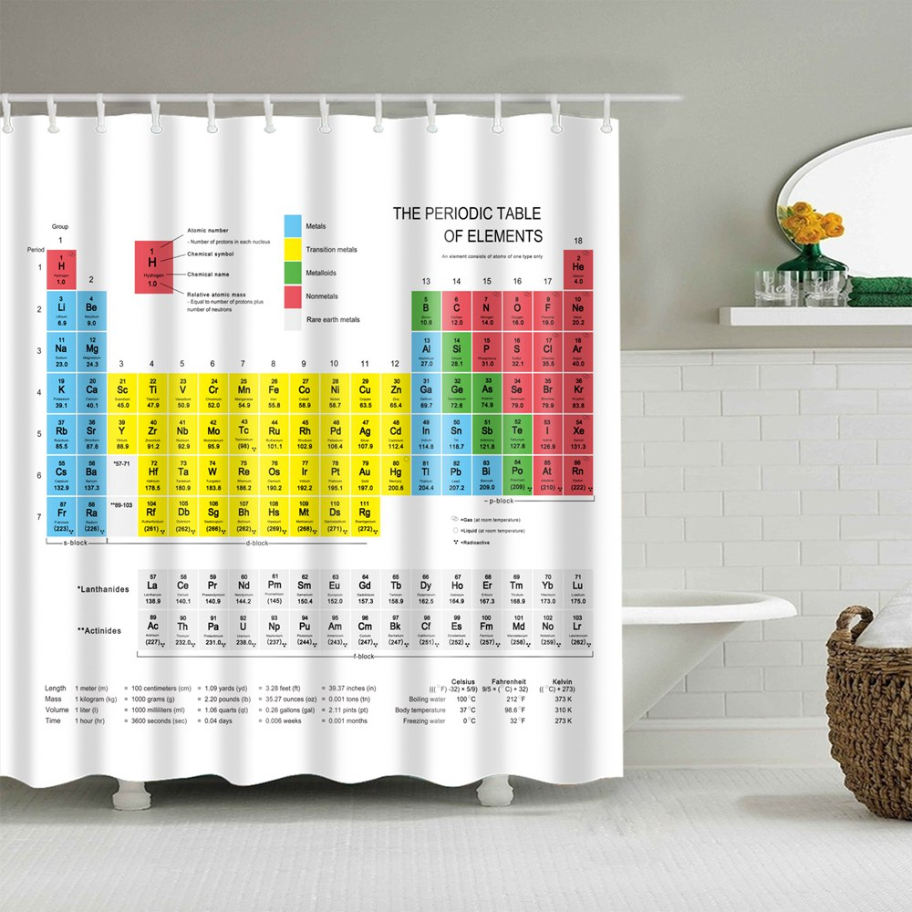 180CM Fabric Shower Curtain Liner Periodic Table of the Elements Bath Curtains