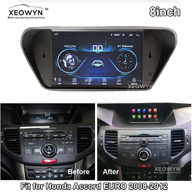 Android 8.1 ROM32GB Quad Core สำหรับ Honda Accord 8 corsstour Acura TSX 2008 2013 วิทยุรถยนต์ GPS นำทางวิทยุมัลติมีเดีย