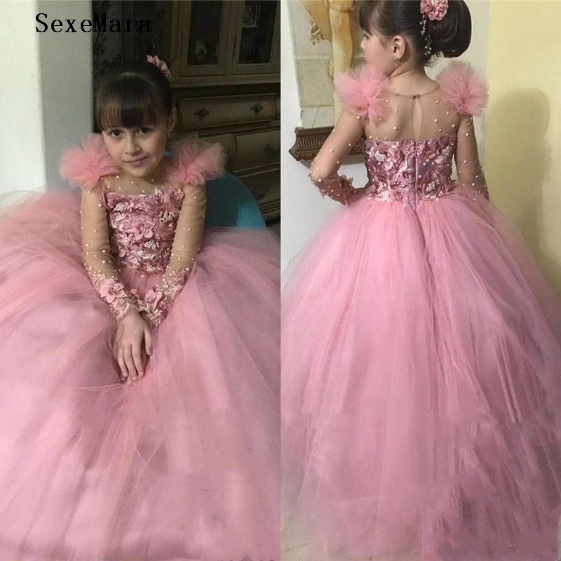 Ball Gown Puffy Girls Clothes For Birthday Party Sheer O Neck 3D Flowers Pearls Kids Children Pageant Party Gown Long Sleeve