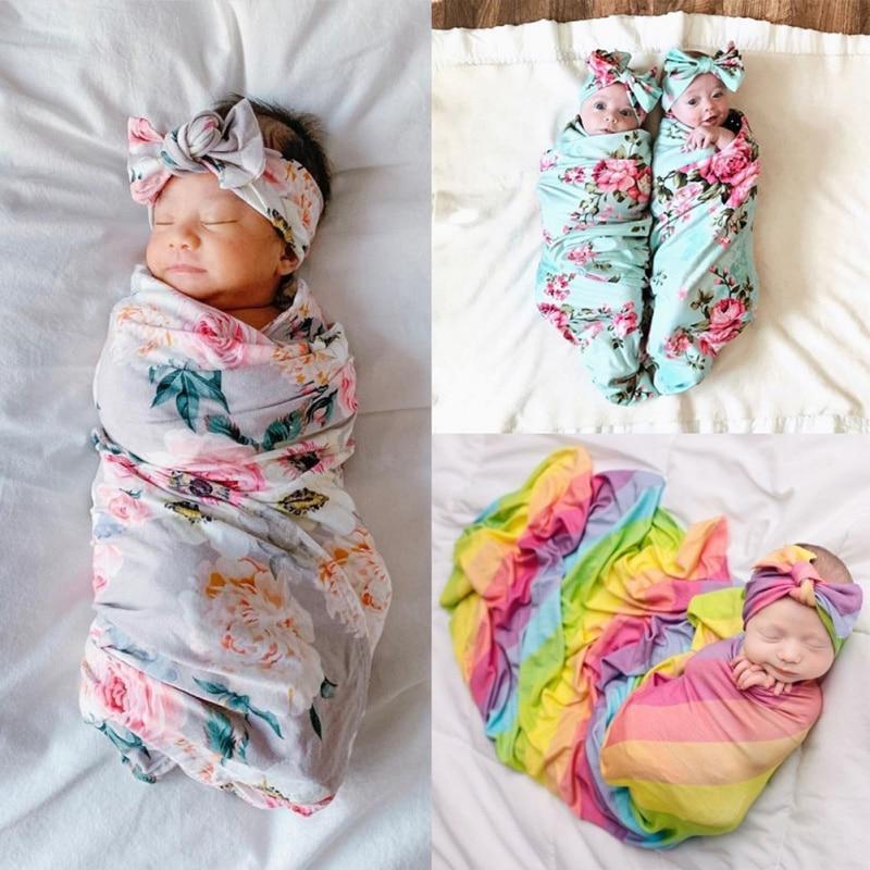 Baby Swaddle Blanket Newborn Baby Floral Swaddle Blanket Toddler Girl Boys Receiving Blanket Infant Swaddle Wrap Headband 2pcs