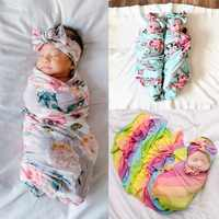 Cobertor do bebê Swaddle Cobertor Swaddle Bebê Recém-nascido Floral Da Menina Da Criança Meninos Receber Blanket Infantil Swaddle Envoltório Headband 2pcs