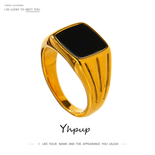 Ring-Statement Geometric Stainless-Steel Gold Yhpup 18-K Enamel Metal Bagues Pour