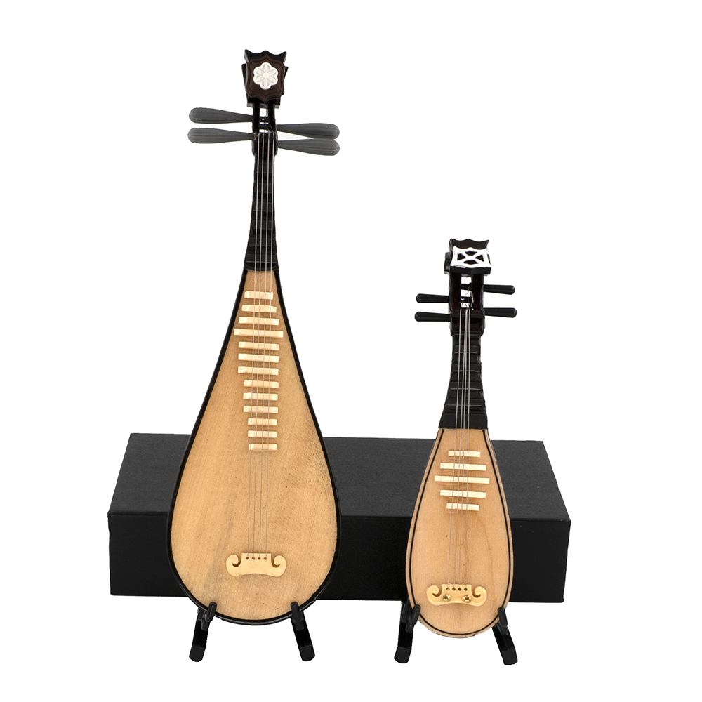 1Pcs Miniature Chinese Lute Model With Support And Case Mini Musical Instrument 1/12 Dollhouse 1/6 Action Figure Accessories Bjd