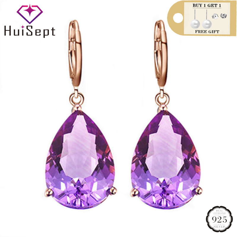 HuiSept Silver 925 Earrings For Women Water Drop Shape Amethyst Gemstones Drop Earrings Jewellery Wedding Party Gifts Ornaments