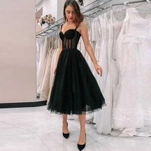 Tea Length Little Black Evening Dress with Illusion Bodice embroidered bodice frilled dress