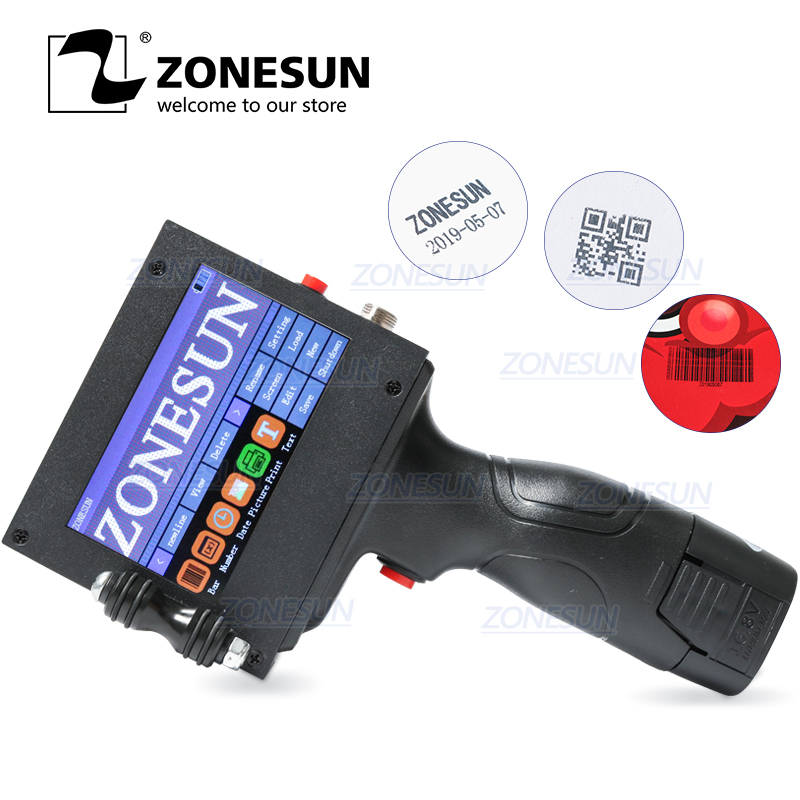 ZONESUN Touch Screen Handheld Intelligent USB QR 360 Degree Inkjet Printer Coding Machine For Carton Rubber Metal Expiry