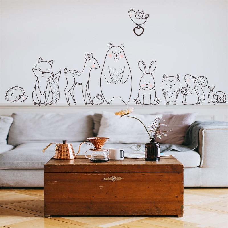 Nordic Cartoon Animal Wall Sticker Shy Bear Fox Baby Children Room Creative Nursery Decals Adhesive Home Decor Wallpaper Supply