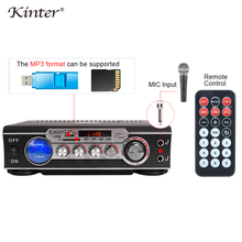 Kinter 006 amplificador de karaoke estéreo hifi de audio fuente de sonido 220V alimentación con USB SD FM MIC entrada Medidor de vu pantalla led