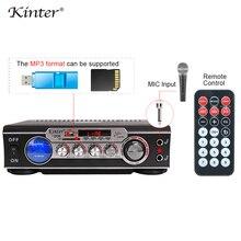 Kinter 006 wzmacniacz do karaoke audio dźwięk radia hifi zasilanie 220V z USB SD wejście FM MIC wyświetlacz led miernika VU