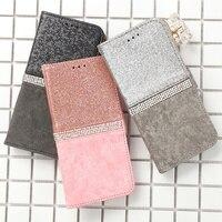 Custodia a portafoglio in cristallo Glitter di lusso per IPhone 11 Pro XR X XS MAX 6 6S 7 8 Plus 12 Mini porta carte di credito in pelle Flip Cover