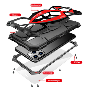 Image 2 - For iPhone 11 Pro XS Max XR Case,LUPHIE Metal Armor Rosdster Phone Case 360°All Round Coverage Protection Cool Travelling Cover