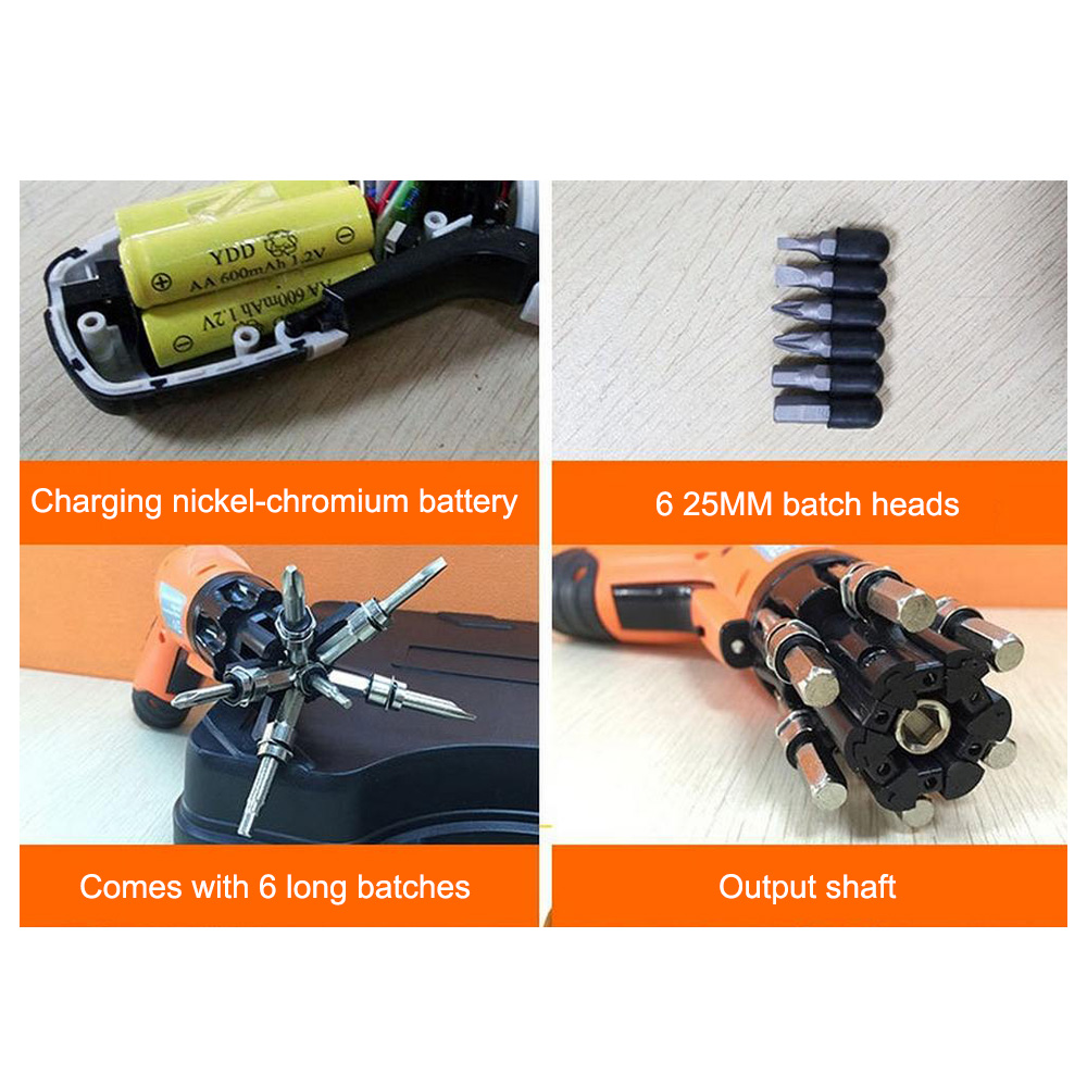Hfcfb2caca90842ac9df0cc7273698e87V - 3.6V Cordless Electric Screwdriver 6 In 1 Built-in Bits Mini Rotary Screw Driver Rechargeable Cordless Drill Power Tools