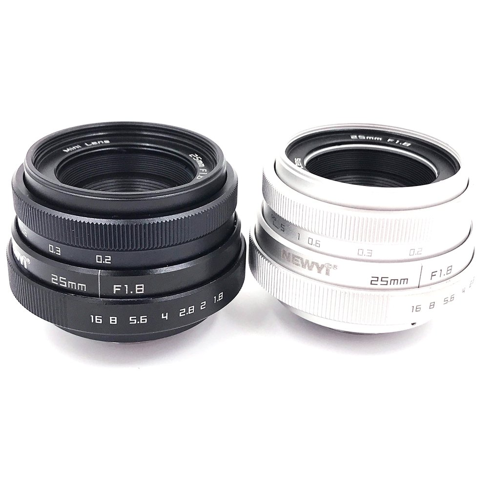 Brand New 25mm F1.8 Camera Lens,Mini CCTV C Mount Angle Lens for Sony for Nikon for Canon DSLR Silver & black image