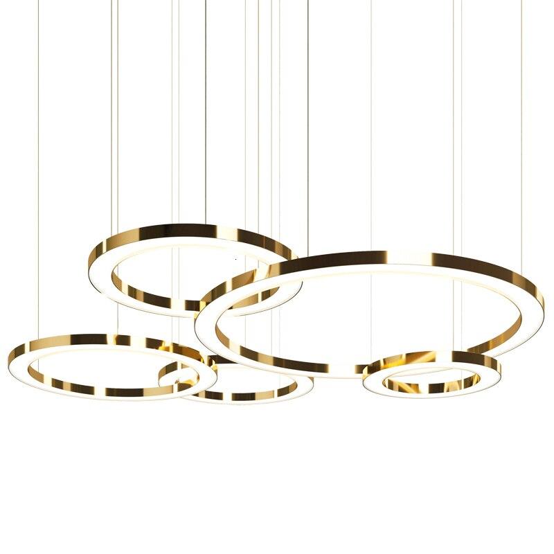 Led anel de ouro forma um lustre pós moderna concisa originalidade personalidade lobby uma sala estar lâmpada do hotel um lustre - 5