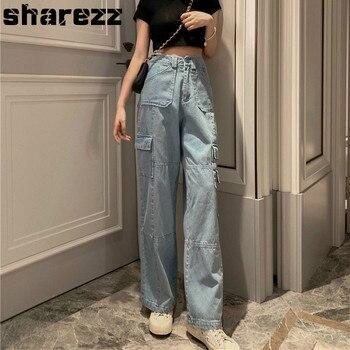 Pockets Patchwork High Waist Boyfriend Jeans For Women Streetwear Straight Jean Femme Blue Cargo Denim Wide Leg Pants Plus Size zipper fly straight leg pockets cargo pants