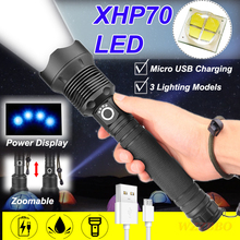 Powerful LED Flashlight with XHP 70 Lamp Bead Zoomable 3 Lighting Modes LED Torch Support for Mircro Charging Hunting Lamp