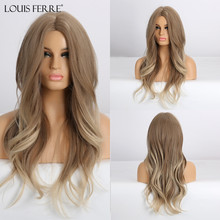 Cosplay Wig Blonde Louis Ferre Water-Wave-Wigs Middle-Part Heat-Resistant Brown White