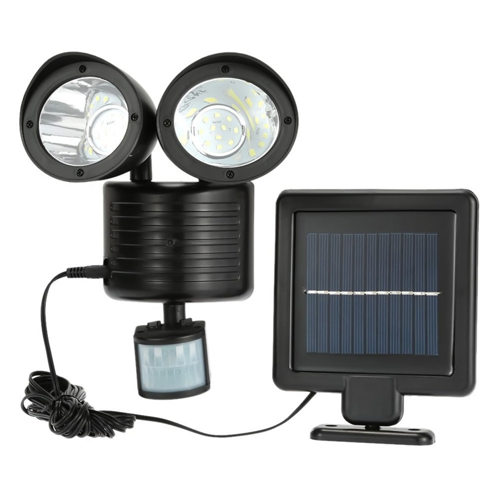 22 LED Solar Light Body Sensor Outdoor Wall Lamp Double-headed Spotlights Highlight for Garden Yard