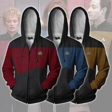 Star Voyager Cosplay Costume Hooded Trek Hoodie High Quality 3D Zipper Print Spring Sweatshirts Jacket