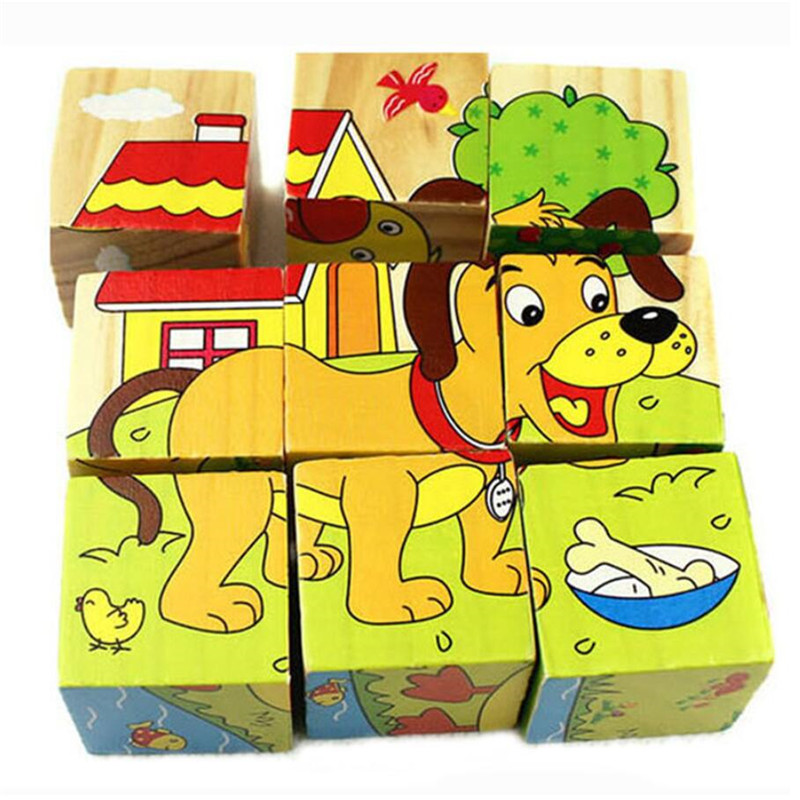 High Grade Six-face Picture Wooden Jigsaw 3D Puzzle Toys Children's Early Educational Toy Cube Puzzle Baby Kids Gifts